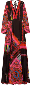Etro Open-back Printed Plissé-crepe Maxi Dress - Black