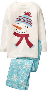 Gymboree Light Blue Flannel Snowman Hoho Pajama Set - Toddler & Boys