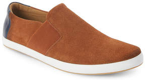 English Laundry Cognac Green Perforated Slip On Sneakers