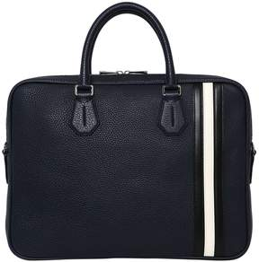 Bally Pebbled Leather Briefcase W/ Stripes