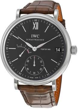 IWC Portofino Manual Wind Eight Days Black Dial Brown Leather Men's Watch 5101-02
