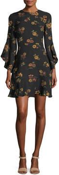 A.L.C. Cassidy Crewneck Long-Sleeve Silk Dress