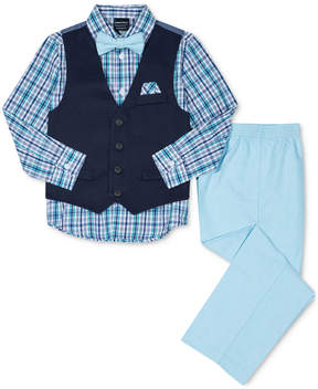 Nautica 4-Pc. Plaid Shirt, Pants, Vest & Bowtie Set, Little Boys