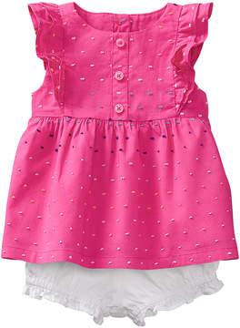 Gymboree Pink Swiss Dot Angel-Sleeve Top & White Bloomers - Newborn & Infant