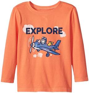 Life is Good Explore Plane Long Sleeve Crusher Tee Boy's T Shirt