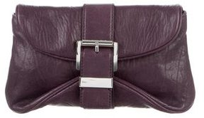 MICHAEL Michael Kors Buckle-Embellished Leather Clutch - PURPLE - STYLE