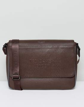 Ted Baker Embossed Messenger Bag in Brown