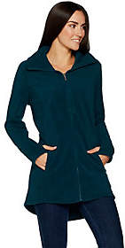 Denim & Co. Fleece Zip Front Long Sleeve Jacket with Hi-Low Hem