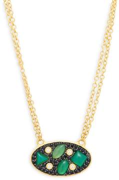 Freida Rothman Women's Cubic Zirconia, Green Agate and Sterling Silver Pendant Necklace