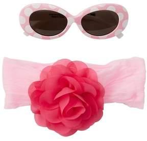 Little Me Bright Pink Polka Dot Sunglasses & Headband Set (Baby Girls)