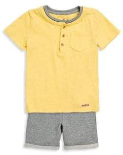 Hudson Little Boy's Two-Piece Cotton Henley and Shorts Set