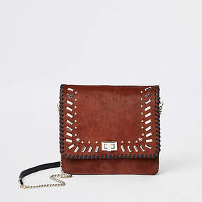 River Island Dark red leather studded cross body bag
