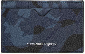 Alexander McQueen Blue Skull Camo Card Holder