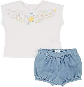 Chloé KIDS' BIRD-PRINT T-SHIRT & CHAMBRAY SHORTS
