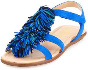 Aquazzura Wild Fringe Suede Sandal, Blue, Toddler/Youth