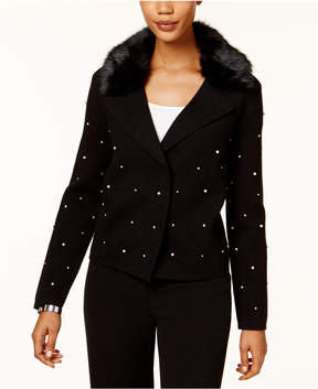 Charter Club Studded Faux-Fur-Collar Cardigan, Created for Macy's