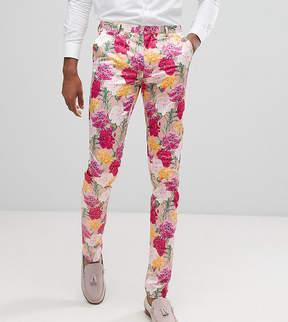 Asos TALL Wedding Skinny Crop Smart Pants In Pink Floral Print
