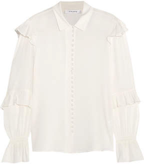 Frame Ruffled Silk-crepon Blouse - White