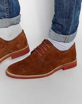 Red Tape Derby Shoes In Brown Suede