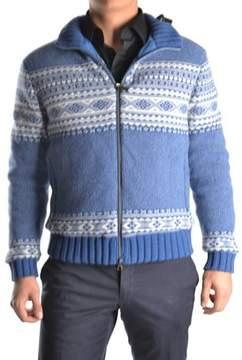 Geospirit Men's White/blue Wool Sweater.