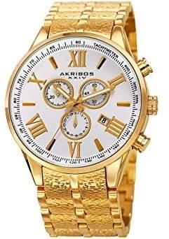 Akribos XXIV Silver Dial Gold-Tone Men's Watch
