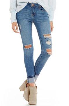 Celebrity Pink Destructed Mega Cuff Ankle Skinny Jeans