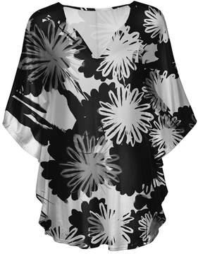 Lily Black & White Floral V-Neck Tunic - Women & Plus