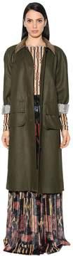 Stella Jean Waxed Cotton Twill Coat W/ Corduroy Trim