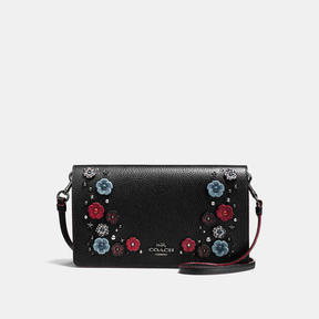 Coach Foldover Crossbody Clutch With Snakeskin Willow Floral