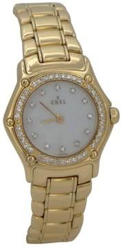 Ebel Mini 18K Yellow Gold 3/4Ct Diamond Mother Of Pearl Dial Wrist Ladies Watch
