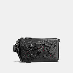 COACH Coach Nolita Wristlet 19 With Tea Rose Tooling - DARK GUNMETAL/BLACK - STYLE