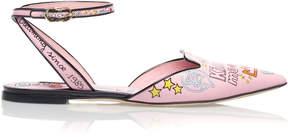 Dolce & Gabbana Printed Patent-Leather Flats