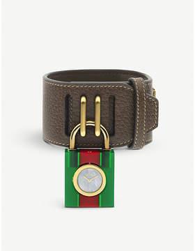 Gucci YA150503 Padlock mother-of-pearl leather strap quartz watch