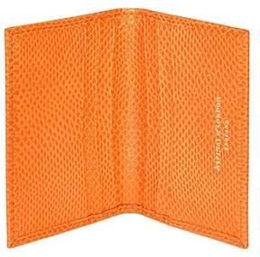 Aspinal of London | Double Fold Credit Card Case In Orange Lizard | Orange lizard