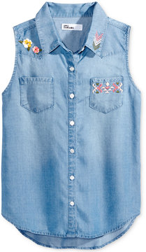 Epic Threads Embroidered Button-Front Denim Shirt, Big Girls (7-16), Created for Macy's