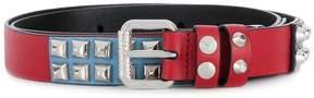 Prada studded skinny belts