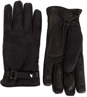 Valentino camouflage panelled gloves
