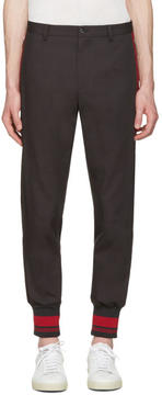 Dolce & Gabbana Grey and Red Rib Knit Cuff Trousers