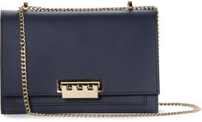 Zac Posen Navy Earthette Large Chain Leather Shoulder Bag