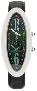Corum Oval Shell Case Two Time Zone Black Leather Quartz Womens Watch