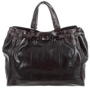 Kotur Snakeskin-Trimmed Leather Tote