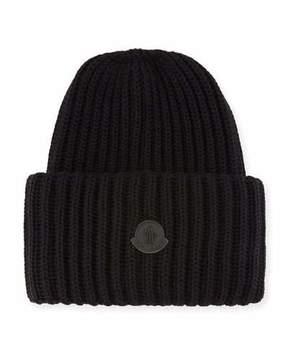 Moncler Men's Oversized Ribbed Logo Beanie Hat