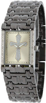 JCPenney FINE JEWELRY Personalized Mens Diamond-Accent Rectangular Black Cross Watch