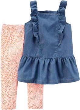 Carter's Chambray Top & Legging 2 Piece Set - Preschool Girls