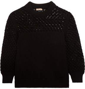 Bottega Veneta Crochet-paneled Ribbed Cotton Sweater - Black
