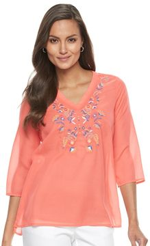 Dana Buchman Women's Embroidered V-Neck Top