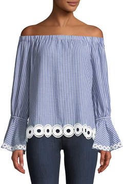 T Tahari Striped Off-the-Shoulder Blouse w/ Eyelet Lace