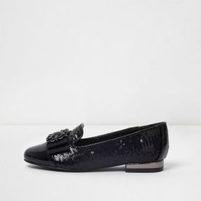 River Island Girls black patent sequin brooch shoes