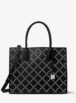 Michael Kors Mercer Grommeted Leather Tote - BLACK - STYLE