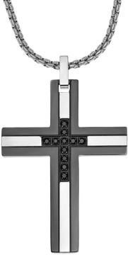 Lynx LYNXMen's Two Tone Stainless Steel 1/6 Carat T.W. Black Diamond Cross Pendant
